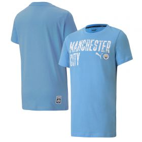 Manchester City ftblCore Wording T-Shirt - Sky Blue - Kids