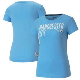 Manchester City ftblCore Wording T-Shirt - Sky Blue - Womens