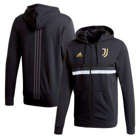 Juventus 3 Stripe Full Zip Hoodie - Black