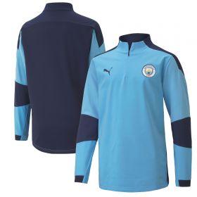 Manchester City 1/4 Zip Top - Sky Blue - Kids