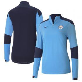 Manchester City 1/4 Zip Top - Sky Blue - Womens