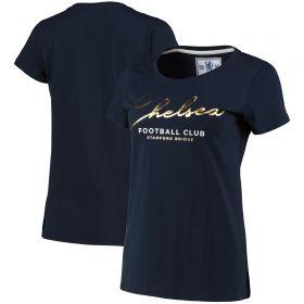Chelsea Scroll Wordmark T-Shirt - Navy - Womens