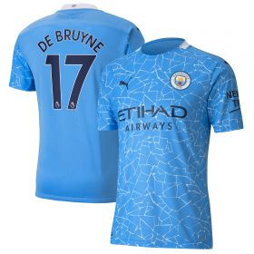 Manchester City Authentic Home Shirt 2020-21 with De Bruyne 17 printing