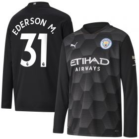 Manchester City Home Goalkeeper Shirt 2020-21 - Long Sleeve - Kids with Ederson M. 31 printing