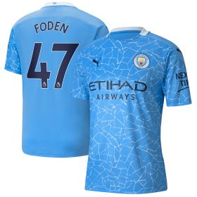 Manchester City Home Shirt 2020-21 with Foden 47 printing