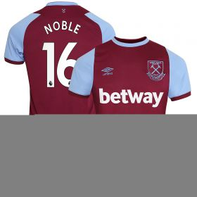 West Ham United Home Jersey 20-21 - Short Sleeve - Junior with Noble 16 printing