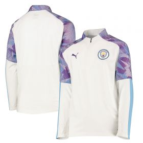 Manchester City 1/4 Zip Training Top - White - Kids