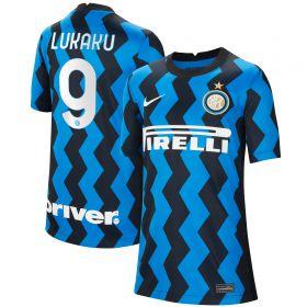 Inter Milan Home Stadium Shirt 2020-21 - Kids with Lukaku 9 printing
