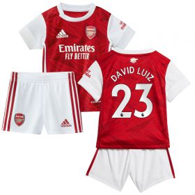 Arsenal Home Baby Kit 2020-21 with David Luiz 23 printing