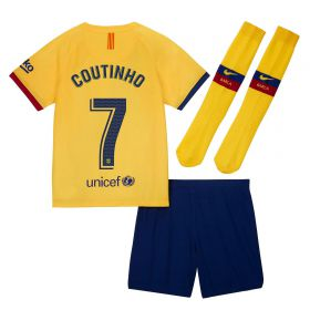 Barcelona Away Stadium Kit 2019-20 - Little Kids with Coutinho 7 printing