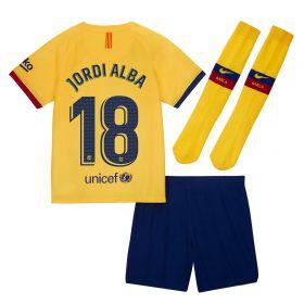 Barcelona Away Stadium Kit 2019-20 - Little Kids with Jordi Alba 18 printing