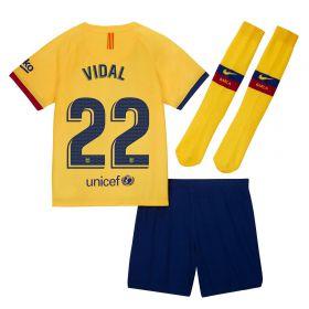 Barcelona Away Stadium Kit 2019-20 - Little Kids with Vidal 22 printing