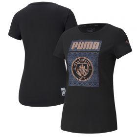Manchester City ftblCore Graphic T-Shirt - Black - Womens