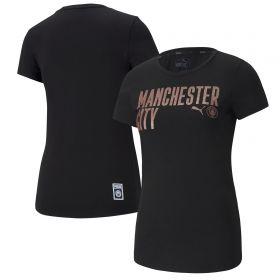 Manchester City ftblCore Wording T-Shirt - Black - Womens