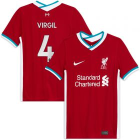 Liverpool Home Stadium Shirt 2020-21 - Kids with Virgil 4 printing