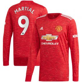 Manchester United Home Shirt 2020-21 - Long Sleeve - Kids with Martial 9 printing