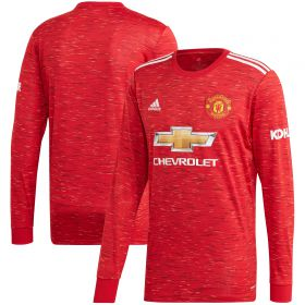 Manchester United Home Shirt 2020-21 - Long Sleeve - Kids with Pogba 6 printing