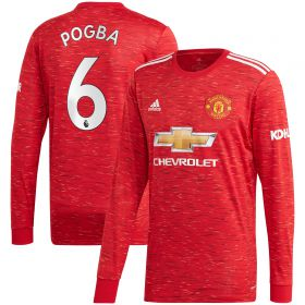 Manchester United Home Shirt 2020-21 - Long Sleeve with Pogba 6 printing