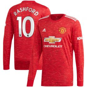 Manchester United Home Shirt 2020-21 - Long Sleeve with Rashford 10 printing