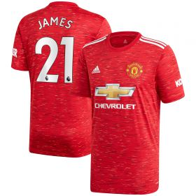 Manchester United Home Shirt 2020-21 with James 21 printing
