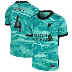 Liverpool Away Stadium Shirt 2020-21 - Kids with Virgil 4 printing
