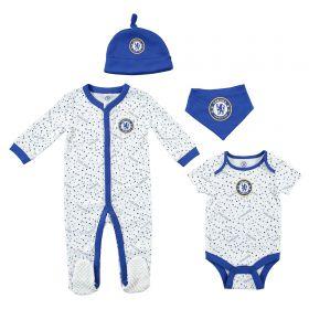 Chelsea 4pc Baby Giftset - Sleepsuit Bodysuit Hat and Bib - White/Blue - Baby