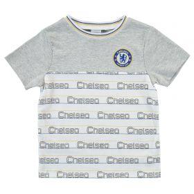 Chelsea Repeat Slogan T Shirt - Grey Marl - Infant