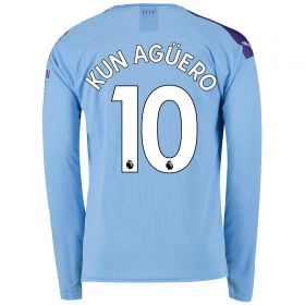 Manchester City Home Shirt 2019-20 - Long Sleeve with Kun Agüero 10 printing