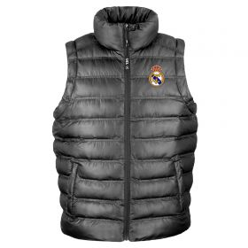 Real Madrid UEFA Champions League Embroidered Padded Gilet - Black - Mens