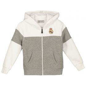 Real Madrid Zip Colour Block Hoodie - Grey/White - Junior