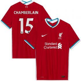 Liverpool Home Vapor Match Shirt 2020-21 with Chamberlain 15 printing