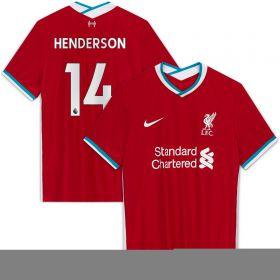 Liverpool Home Vapor Match Shirt 2020-21 with Henderson 14 printing