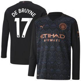 Manchester City Away Shirt 2020-21 - Long Sleeve - Kids with De Bruyne 17 printing
