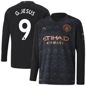 Manchester City Away Shirt 2020-21 - Long Sleeve - Kids with G.Jesus 9 printing