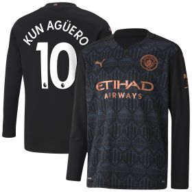 Manchester City Away Shirt 2020-21 - Long Sleeve - Kids with Kun Agüero 10 printing