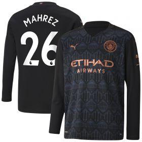 Manchester City Away Shirt 2020-21 - Long Sleeve - Kids with Mahrez 26 printing