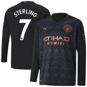 Manchester City Away Shirt 2020-21 - Long Sleeve - Kids with Sterling 7 printing