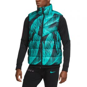 Barcelona Gilet With All Over Palm Print - Turquoise