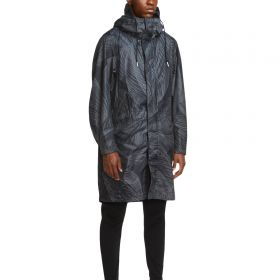 Barcelona Parka With All Over Palm Print - Grey