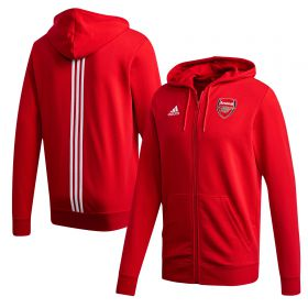 Arsenal 3 Stripe Full Zip Hoodie - Red