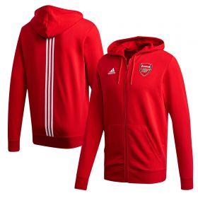 Arsenal 3 Stripe Full Zip Hoodie - Red