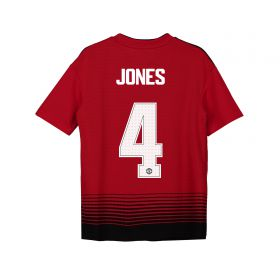 Manchester United Home Cup Shirt 2018-19 - Kids with Jones 4 printing