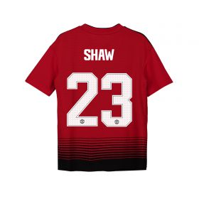 Manchester United Home Cup Shirt 2018-19 - Kids with Shaw 23 printing