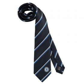 Chelsea Thin Stripe Tie - Navy/White - Poly
