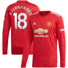 Manchester United Home Shirt 2020-21 - Long Sleeve with B.Fernandes 18 printing