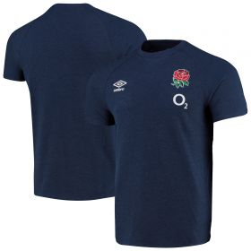 England Rugby Travel Marl T-Shirt - Navy - Mens