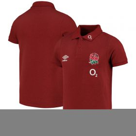 England Rugby Travel Marl Polo Shirt - Red - Junior