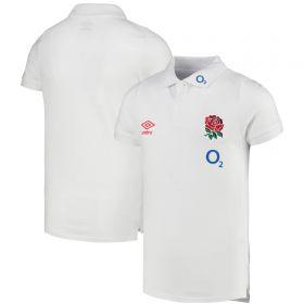 England Rugby Travel Marl Polo Shirt - White - Junior