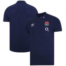 England Rugby Travel Marl Polo Shirt - Navy - Mens