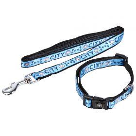 Manchester City Dog Collar and Lead - Medium